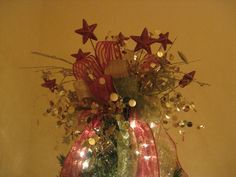 Kristen's Creations: How To Make A Tree Topper! (Bow Tutorial)