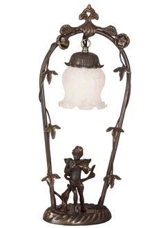 19 Inch H Cherub With Violin Accent Lamp - 19 Inch H Cherub With Violin Accent LampBring Victorian Romance into your home with thischarming cherub. He plays the violin under this leaf and vine accented arbor, which hangs a graceful melonflower blown glass shade featured in a mottled White color. The brass lamp is finished in a handsome Mahogany Bronze. Theme: Product Family: Cherub with Violin Product Type: NOVELTY LAMPS AND ACCESSORIES Product Application: LAMPS Color: WHITE Bulb Type: CNDL…