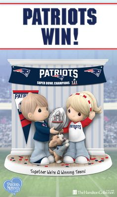 The New England Patriots came through with a victory and are the Super Bowl LI Champions! Celebrate them in true winning style with these two adorable Patriots fans in this Precious Moments figurine: