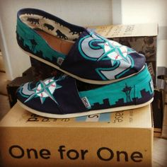 seattle mariners handpainted shoes by wendybusch22 on Etsy https://www.etsy.com/listing/221438916/seattle-mariners-handpainted-shoes