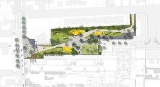 두개의 도시공간을 접합합니다. 도시를 위한 도시 공용 공간과 학교부지에 속한 공용부지를 합쳐 도시속 단절된 흐름을 연결하는 도시공원으로 재구성합니다. 프로젝트의 주된 관점은 레벨차이가 있는 두개의 존을 연결하여 도시광장을 형성하는 것과 이 광장을 관통하는 연결통로로 단절된 도시공간을 연결하는데 있습니다. 자연적-도시계획으로 인하여 형성된 지형적 특징-으로 형성된 지형적 특징을 반영한 광장은 리니어하..
