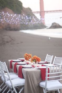 Dinner Party beneath the Golden Gate Bridge - simple tablescape because the location makes a big impact!