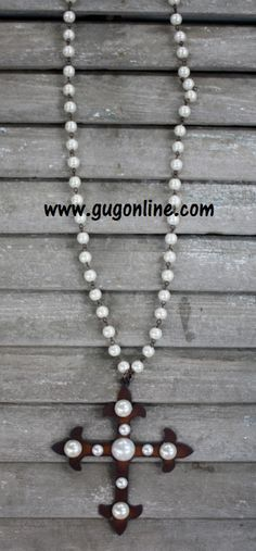 Long Pearl Chain with Dangle Metal and Pearl Stud Chopper Cross www.gugonline.com $32.95