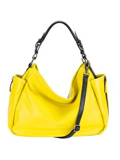 Slouchy, pebble leather hobo-style shoulder bag with twin zipper embellished side pockets designed to hold a standard water bottle. Top handle padded for comfort; detachable/adjustable shoulder strap. Available in Black, Orchid, Cyan, Orange, Yellow (pictured), and Pewter.