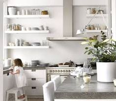 Image result for open shelving for kitchen wall
