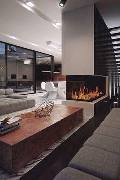 Basement fireplace room divider