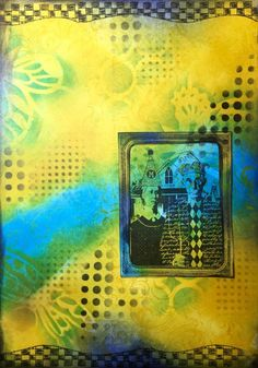 Art journal page with Distress Inks and Stencils - Marjie Kemper