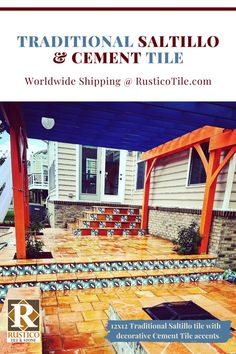 We love this hacienda style outdoor living area! The bold colors of #mexicantile are inviting for family meals and gatherings with friends. Featured here is 12x12 Saltillo floor tile with decorative encaustic-style Cement tile accents. Both types of tile are made in Mexico and can be found in rustic style homes around the world.  This is where beauty meets durability and function! Get #mexicantile shipped today from the pros at RusticoTile.com Terracotta Floor, Red Tiles, Floors And More, Patio Flooring, Spanish Tile, Hacienda Style, Handmade Tiles, Spanish Tile Floors, Patio Decks