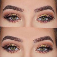 Warm gold fresh pink neutral eye.