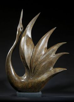 Bronze Abstract Contemporary or Modern Outdoor Outside Exterior Garden / Yard Sculptures Statues statuary sculpture by artist Simon Gudgeon titled: 'Bird of Happiness (abstract Stylised Contemporary Modern Yard statues)'
