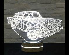 3D LED Lamp, Chevrolet Car Shape, Decorative Lamp, Home Decor, Table Lamp, Office Decor, Plexiglass Art, Art Deco Lamp, Acrylic Night Light by ArtisticLamps