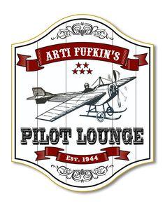 Personalized Pilot Lounge Wood Sign