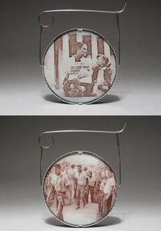 Jessica Calderwood: Pin in enamel on copper, ceramic decals of vintage photographs, sterling silver, and stainless steel. 2.25 x 2 x .25.