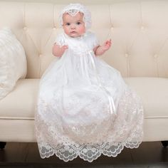 The Joli Christening Gown is an elegant full length heirloom Christening Gown. Designed with soft pima cotton and an embroidered netting lace with silk ri Christening Gowns For Girls, Baby Girl Baptism, Baptism Outfit, Baptism Dress, Baby Blessing Dress, Flower Girl Dresses, Romper Dress, Pink Dress, White Cotton