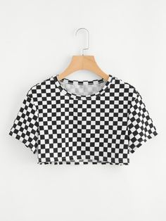 Sexy Gingham Regular Fit Round Neck Short Sleeve Black and White Crop Length Gingham Crop Tee Boho Gingham Regular Fit Round Neck Short Sleeve Black and White Crop Length Gingham Crop Tee Cute Comfy Outfits, Cute Girl Outfits, Swag Outfits, Mode Outfits, Pretty Outfits, Girls Fashion Clothes, Teen Fashion Outfits, Girl Fashion, Teen Clothing
