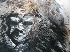 Gorillaaaaa painting using acrylic paints. More about the line work and flow than the genuine shapes