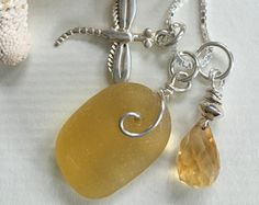 Yellow English Seaglass - Sterling Silver Dragonfly & Citrine Charm