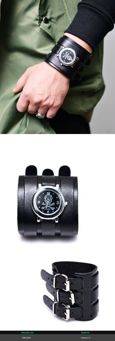 Mens Triple Strap Skull Watch Leather Cuff-Bracelet 308 by Guylook.com
