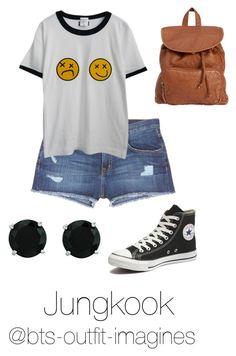 """Summer with Jungkook"" by bts-outfit-imagines on Polyvore featuring Current/Elliott, Chicnova Fashion, Converse, BillyTheTree and Billabong"