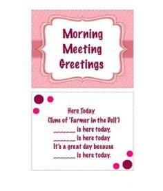 Free morning meeting planning poster to record daily greeting morning meeting greetingsgood for preschool using responsive classroom m4hsunfo Choice Image