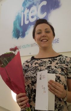 """ITEC North East Tutor Michelle McGuire was thrilled and suprised to receive flowers from Ellie Franklin in thanks for her """"support, re-assurance and positive insights"""" whilst studying for her Advanced Business Administration Apprenticeship.  Ellie works as an Apprentice Receptionist at West Cornforth Medical Centre. Through some difficult times she credits her """"amazing"""" tutor for """"developing a positive working relationship"""".  Thank you Ellie! And well done Michelle!"""