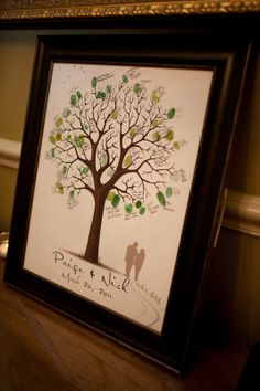 Use thumbprints to create a tree. This would be a neat idea as an alternate guest book for any event!