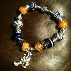 Auburn, tiger charm Glass Beads & European Charm Crystal Bracelet football | eBay