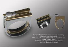 """ORIENTAL CHOPSTICKS"" . Creation by Raffles Design Institute - Jewellery Designer Michelle Doho, award winner in Category C of the Singapore Jewellery Design Award (SJDA) 2012."