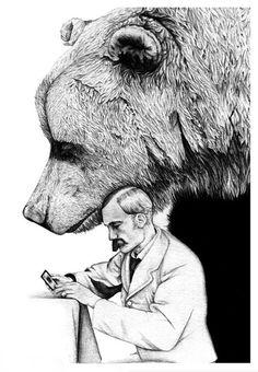 artists, animal drawings, drawing animals, animal illustrations, bears, big bear, pencil drawings, ami dover, artwork