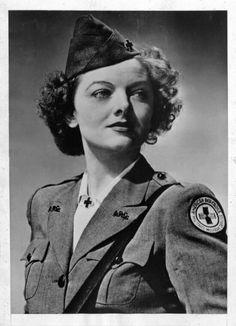 Myrna Loy in her WWII Red Cross uniform.