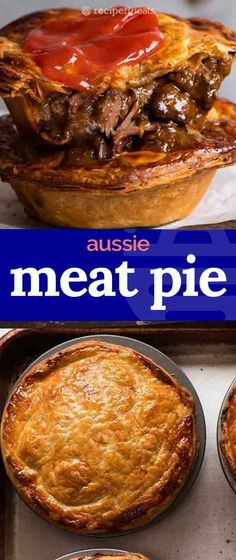 Meat Pie - - Meat Pie Foods to cook. The great Australian meat pie – made at home! Buttery shortcrust base filled with slow cooked fall apart chunky beef smothered in a rich gravy, topped with puff pastry. Way WAY better than your average bakery! Slow Cooker Beef, Slow Cooker Recipes, Australian Meat Pie, Australian Recipes, Meat Recipes, Cooking Recipes, Barbecue Recipes, Cooking Videos, Curry Recipes