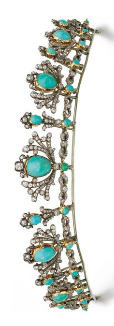 Turquoise and diamond tiara/necklace, late 19th century Designed as a graduated series of palmette motifs, each set with a cabochon turquoise within a surround of circular-cut diamonds, mounted on a line of figure-of-eight links. Image Sotheby's http://www.sothebys.com/en/auctions/ecatalogue/2015/fine-jewels-l15052/lot.229.html
