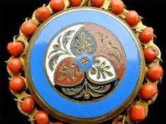RARE Coral Brooch Pendant Antique Handmade Necklace Gilded Brass Enamel Art Deco | eBay