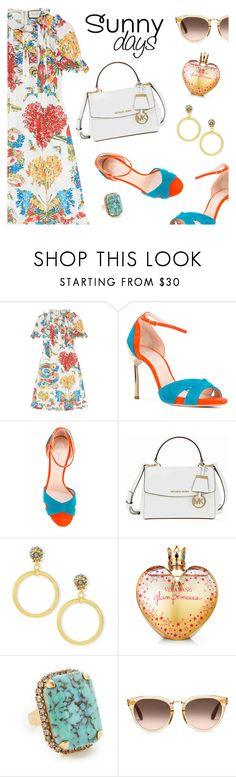 """""""Sunny Days"""" by dressedbyrose ❤ liked on Polyvore featuring Gucci, Casadei, Michael Kors, Jose & Maria Barrera, Vera Wang, Elizabeth Cole, TOMS, Summer, colorful and sunny"""