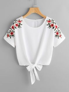 SheIn offers Flower Embroidery Kno - French Shirt - Ideas of French Shirt - Shop Flower Embroidery Knot Front Top online. SheIn offers Flower Embroidery Knot Front Top & more to fit your fashionable needs. Girls Fashion Clothes, Teen Fashion Outfits, Mode Outfits, Trendy Outfits, Girl Fashion, Girl Outfits, Fashion Dresses, Womens Fashion, Fashion Top