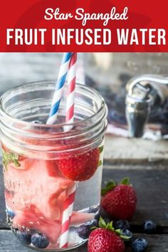 Star Spangled Fruit Infused Water is a delicious way to stay healthy and hydrated on a holiday weekend.  Whatever your plans, make sure to have plenty of this colorful water on hand!  #patrioticfood #redwhiteandblue #fruitinfusedwater #fourthofjuly #healthy #summerfood #starspangled Fruit Smoothie Recipes, Fruit Recipes, Juicer Recipes, Appetizer Recipes, Salad Recipes, Star Snacks, Healthy Drinks, Stay Healthy, Drink Recipes Nonalcoholic