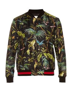 GUCCI Tropical-Print Silk Bomber Jacket. #gucci #cloth #jacket
