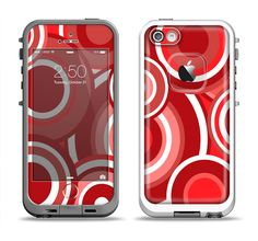 The Red and White Layered Vector Circles Apple iPhone 5-5s LifeProof Fre Case Skin Set