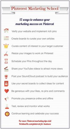 "SOCIAL MEDIA -         ""Pinterest Marketing School - 12 ways to enhance your marketing success on #Pinterest""."