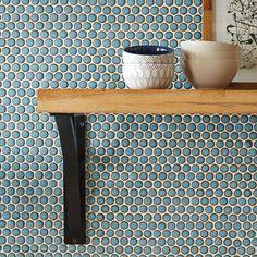 Merola Tile Hudson Penny Round Marine 12 in. x 12-5/8 in. x 5 mm Porcelain Mosaic Tile (10.2 sq. ft. / case)