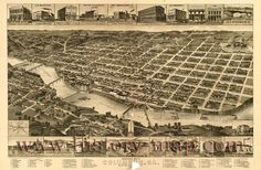 Perspective map of Columbus, Georgia., county seat of Muscogee County, 1886.
