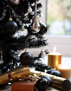 Black Silver Gold Christmas tree