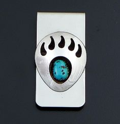 Virginia Long (Navajo) - Large Turquoise Sterling Silver & Stainless Steel Bear Track Money Clip #38098A $35.00