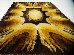 EAMES era Mid-Century Modern Rya Rug danish pop op art shag vintage sunburst 70s