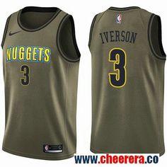 22c6f1d93 Men's Nike Denver Nuggets #3 Allen Iverson Green Salute to Service NBA  Swingman Jersey Basketball