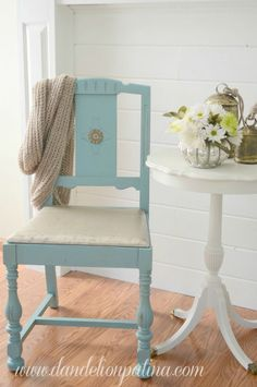 Neglected wooden dining chairs transformed with Annie Sloan Chalk Paint in Provence by Dandelion Patina