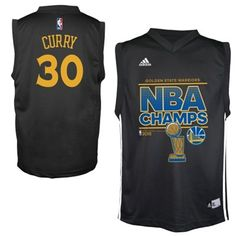 Youth Golden State Warriors Stephen Curry adidas Black 2015 NBA Finals  Champions Jersey 614476458