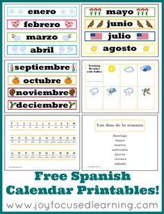 When you subscribe to Joy Focused Learning's email newsletter, you can download a free set of Spanish Calendar Printables!  This is a large, c
