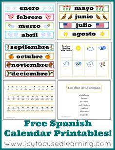 Joy Focused Learning: Spanish Calendar Time Printables - New & Improved! Preschool Spanish, Elementary Spanish, Spanish Activities, Spanish Classroom, Teaching Spanish, Learning English, Preschool Classroom, Classroom Ideas, Spanish Phrases