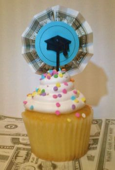 The finished product (and a reason to buy a cupcake!): Cupcakes picks I made for my Student Loan Payoff Party. Cupcake Picks, Student Loan Debt, Debt Payoff, Debt Free, Birthday Candles, Cupcakes, Party, Collections, Beautiful